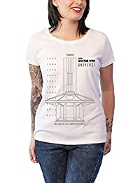 Doctor Who T Shirt TARDIS Sketch Dates in Time offiziell damen Weiß Skinny Fit