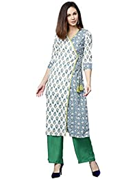 Jaipur Kurti Women Off White & Green Ethnic Motifs Straight Cotton Kurta With Palazzo