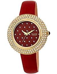87d5d13ddb15 Burgi® BUR207 - Reloj de pulsera para mujer con correa de piel satinada de  cristal