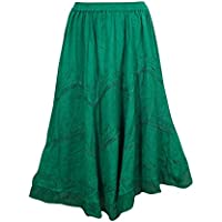 Mogul Interior Medieval Skirt Green Embroidered Rayon Boheme Medium