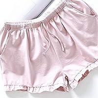 PRETYZOOM Pantalones Cortos Caseros Mujeres Pantalones Cortos de Algodón Casuales Pantalones Cortos de Playa de Verano Pantalones Cortos Sueltos Pantalones Cortos Pijamas para Dama (Talla XL Rosa)