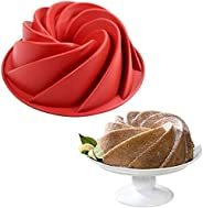 Olaf Baking Mold Large Spiral Shape silicone Bundt 10 Inch Non-Stick Reusable Eco-Friendly Grade Home Round Ba
