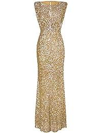 Riou Damen Ballkleider Lang Sexy Schulterfrei Glänzend Hoch Geschnitten  Langarm Abendkleider Elegant für Hochzeit Festlich Party 3682242baf