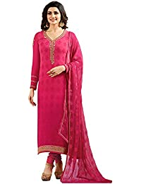 Multi Retail Pink Fancy Georgette Print And Embroidered Unstitched Straight Salwar Suit With Dupatta, Bottom And...
