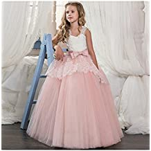 LZH Vestido de Fiesta Niñas Cordón Boda Princesa Vestidos de Novia Cóctel