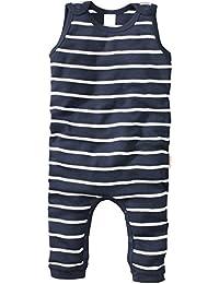 wellyou, Baby-Strampler, Kinder-Strampler, marine-blau weiß gestreift, Strampelanzug geringelt, für Jungen und Mädchen, Feinripp aus 100% Baumwolle, Größe 56 - 122
