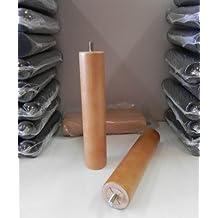 Pack 4 patas para somier o base tapizada cilÃndricas, madera color haya