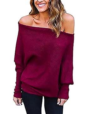 Ruiying Mujer Moda Suéter Largo Casual Jersey Prendas de Punto de Cuello Barco Batwing Mangas Largas Camiseta...