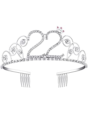 BABEYOND Tiara Cristal Cumpleaños Corona Cumpleaños Accesorios Princesa Feliz Cumpleaños 16/18/20/21/30/40/50/...