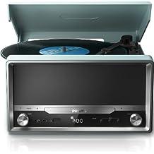 Philips OTT2000 Retro Soundsystem mit Bluetooth (LP-Wiedergabe, USB Rip, USB, UKW, CD-MP3) hellblau