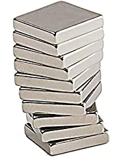 Perfect Magnets RECTANGLE Shape 10 Pcs Nickel/NEODYUIM Coated Premium Brushed Refrigerator Magnet for Science and School Projects (12x5x2)