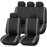 Auto-Sitzbezüge Set Universal Schwarz Grau | Auto-Schonbezüge für Sommer & Winter | Auto-Sitzschoner Komplettset für die Vordersitze & Rückbank (B1 Grau)