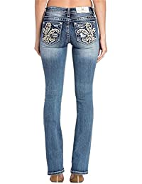 965ab924e5caa Miss Me Floral Fluer De Lis Medium Wash Mid-Rise Boot Cut Women s Jeans  M3334B