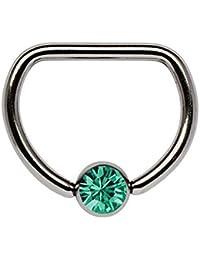 Piercing De Pecho Titanio anillo D 1,6 x 10 mm con 5 mm Bola de piedra en muchos Colores seleccionable