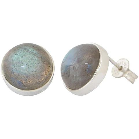 Con Labradorite con gemma rotonda, ErCe Unique Jewellery-Orecchini a perno, in argento Sterling 925, 12 mm, in confezione regalo