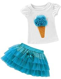 QUICKLYLY 2PCS Camisetas Bebé Niño Niña Manga Corta Vestir Tutu Falda  Vestido Verano Primavera Algodón Recién 177828ebb6e3