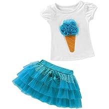 QUICKLYLY 2PCS Camisetas Bebé Niño Niña Manga Corta Vestir Tutu Falda Vestido Verano Primavera Algodón Recién Infantil Conjunto