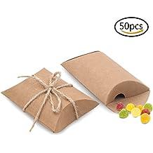 Bindex Regalo Cajas Vintage Natural Almohada Kraft Cajas De Regalo Para La Boda Cajas De Dulces 50 Piezas