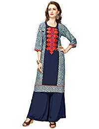 Clothfab Women's Reyon Cotton Stylish Party Wear Kurti (Multi-Color)