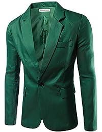 fe920a25b15 Veste de Costume Homme Mince d affaires décontraction Couleur Unique Un  Bouton