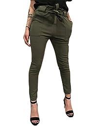 95a27fbcbc85e Pantalon Autumn Femme avec Ceinture Obi,Overdose Été Casual Pantalons  Carotte Fuselé Taille Haute Slim