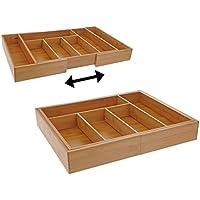 Besteckkasten Bambus 43-58x35x6,5cm ausziehbar Schubladeneinsatz Besteckeinsatz
