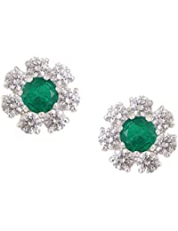Somma 925 Silver Rhodium Plated Made With Swarovski Zirconia Earrings For Women
