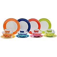 Flamefield - Servizio da tavola composto da 16 pezzi in melamina, multicolore