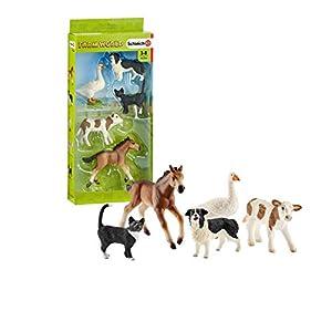 Schleich- Colección Farm World Set de Figuras de Animales, Ternero, Gato, Perro, Ganso y Potro, Multicolor (42386)