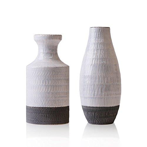 Hannahu0027s Cottage 2er Set Weiß Keramik Vase Kleine Vase Blumenvase  Keramikvasenset Moderne Deko Tischvase Blumen Vase Wohnzimmer Deko Haus  Dekoration Höhe ...