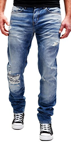 Merish Jeans Destroyed Herren Jeans Used-Look Streetstyle Blue Denim Patched Best Fit Modell J2083 Blau W32