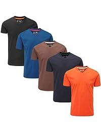 Charles Wilson 5er Packung einfarbige T-Shirts mit V-Ausschnitt