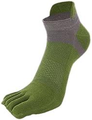 Non Slip de Elenxs Hommes Respirant Footcare courtes en coton Mesh Cinq Toe chaussettes