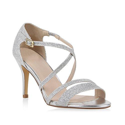 Damen Riemchensandaletten Glitzer Sandaletten Stilettos High Heels Abiball Hochzeit Braut Schuhe 110990 Silber Riemchen Bernice 36 Flandell