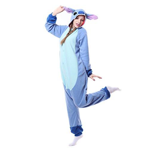 Unisex Einteiler/Pyjama für Erwachsene Stitch Pyjama,Blue New Stitch,XL ()