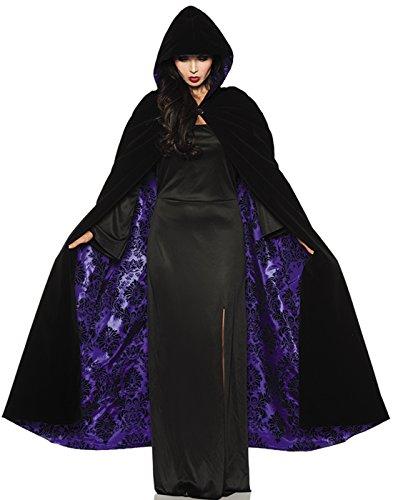 Underwraps Deluxe Black Velvet Purple Satin Flocked Vampire Halloween Cape One Size