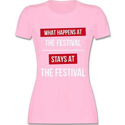 Festival - What Happens On The Festival Stays At The Festival - Damen T-Shirt Rundhals Rosa
