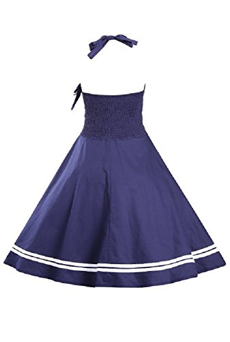 URqueen Women's Bowknot Striped A-Line Halter Cocktail Dress Navy blue