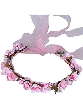 YAZILIND nupcial Rose Flor de la corona de Dama de honor de pelo corona floral diadema de playa para los festivales...