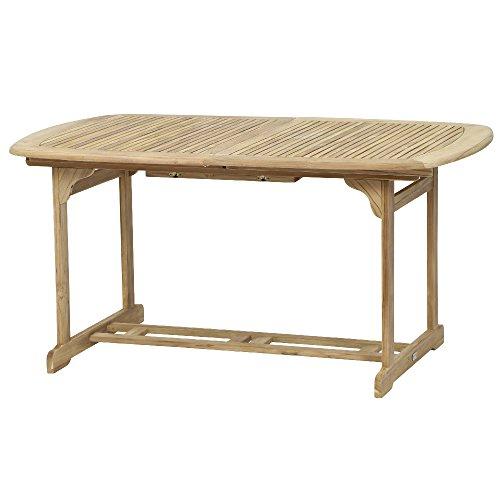 Siena Garden 672882 Newport Table Extensible Bois de Teck/Acier Galvanisé 150/200 x 100 cm