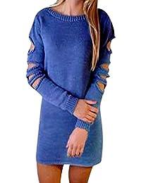 e10a3178f11e HEETEY Damen Bluse,Beiläufige Art und Weise Herbst Frauen O-Ausschnitt  Einfarbig Durchbrochenes Loch