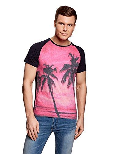 oodji Ultra Herren T-Shirt mit Stranddruck und Raglan-Ärmeln, Rosa, XL