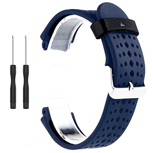 Correa de repuesto para reloj inteligente Garmin Forerunner 220/230/235/620/630/735XT (incluye herramientas de instalación) de Kobwa, Blue+Black