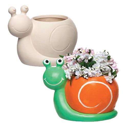 Baker Ross Pots de fleurs escargots en céramique que les enfants pourront fabriquer pour des décorations créatives (Boîte de 2)