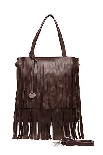 78e72afcb Bolsos mujer, bolsos shopper mujer, bolso marrón oscuro con flecos tote,  bolsos grandes
