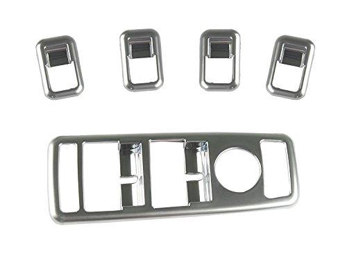 Topfit Garniture de cache de panneau de commutateur de fenêtre de porte de voiture chromée, boîtier de commutateur, garniture décorative de cache-interrupteur de lève-glace pour modèle S et X