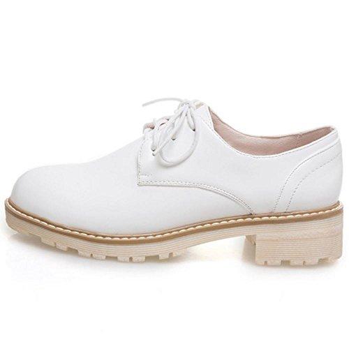 Zanpa Donne Moda Lace up Oxford Scarpe Synthetic brevetto White