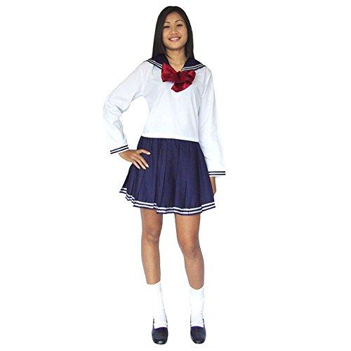Japanisches Cosplay Schulmädchen Kostüm Schuluniform Baumwolle Blau Weiß (Moon Kostüm Amazon Sailor)