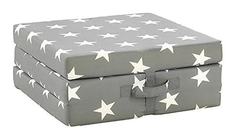 Klappmatratze Faltmatratze Reisebett SAMBA 8 | Grau | weiße Sterne | Polyester | Baumwolle | 70x190 cm