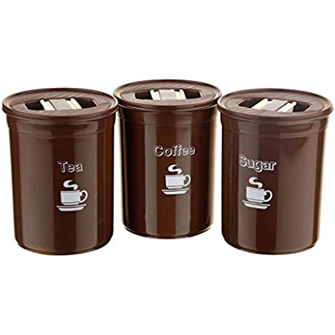Asian Plastowares - 10000412 Plastic Accurate Seal Container, 850ml, Set of 3, Brown